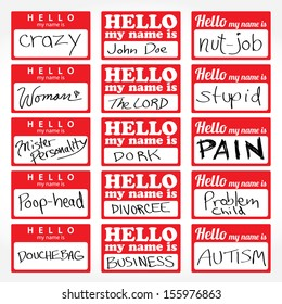 An assortment of Hello my name is temporary sticker lapel badges that are editable in vector format.
