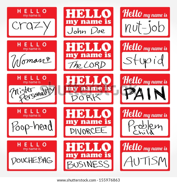 Assortment Hello My Name Temporary Sticker Stock