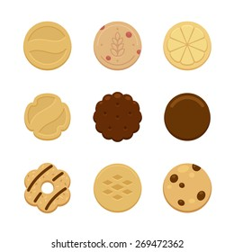 Assortment of nine delicious cookies of various shape and taste.