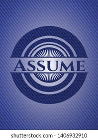 Assume with denim texture. Vector Illustration. Detailed.