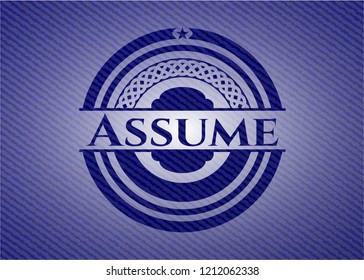Assume emblem with denim high quality background