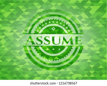 Assume green mosaic emblem