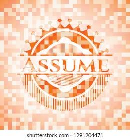 Assume orange mosaic emblem