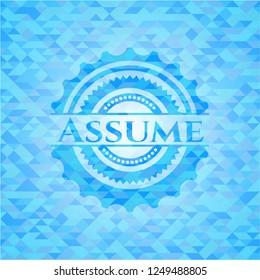 Assume realistic light blue mosaic emblem