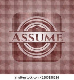 Assume red seamless emblem or badge with geometric pattern background.