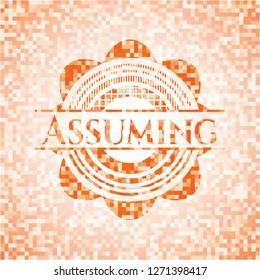 Assuming abstract orange mosaic emblem