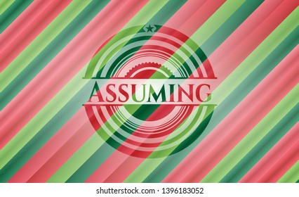 Assuming christmas colors emblem. Vector Illustration. Detailed.