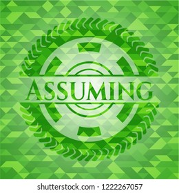 Assuming green emblem with mosaic ecological style background