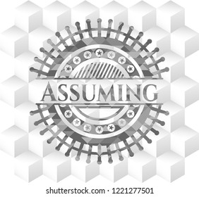 Assuming grey emblem. Vintage with geometric cube white background