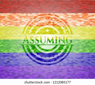 Assuming on mosaic background with the colors of the LGBT flag