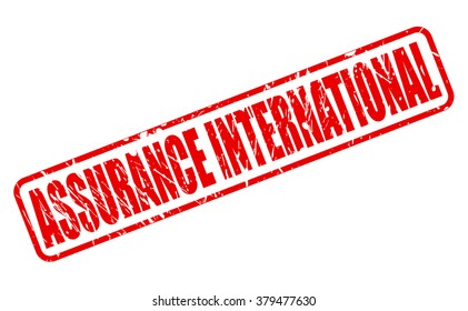 ASSURANCE INTERNATIONAL RED STAMP TEXT ON WHITE
