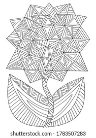 Assymetrical blossom geometrical flower coloring page for kids and adults stock vector illustration. Black outline flower with two leaves isolated on white. Detailed floral monochrome illustration.