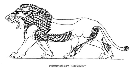 Assyrian Lion is on a glazed clay slab at a royal palace in Khorsabad, vintage line drawing or engraving illustration.