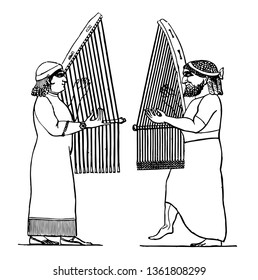 Assyrian Music held music in honor and empoyed it for liturgical purposes, vintage line drawing or engraving illustration.
