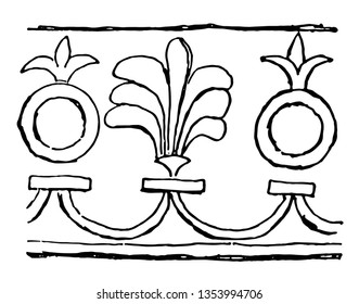 Assyrian Ornament is a used for decoration vintage line drawing or engraving illustration.