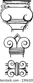 Assyrian Ornament is a Assyrian volutes vintage line drawing or engraving illustration.