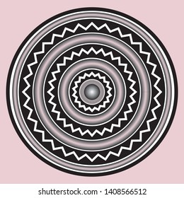 Assyrian and Persian ornament of concentric broken lines in the circles.