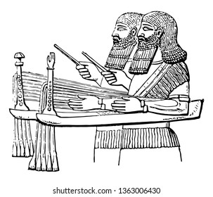 Assyrian Sacbut called sabbeka in the Hebrew Scriptures has been erroneously rendered as sacbut by the translators, vintage line drawing or engraving illustration.