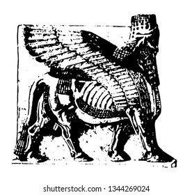 Assyrian Sculpture is an Assyrian winged bull from Khorsabad vintage line drawing or engraving illustration.
