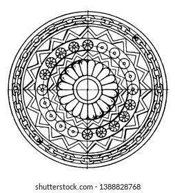 Assyrian Shield Circular Panel is found in Khorsabad, vintage line drawing or engraving illustration.