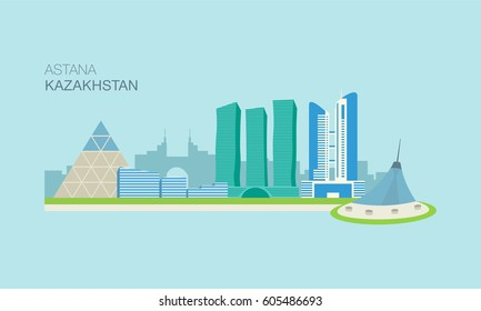 Astana City Landscape, Kazakhstan. Flat vector illustration. Central Asia. Graphic design template.