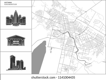 Astana city map with hand-drawn architecture icons. All drawigns, map and background separated for easy color change. Easy repositioning in vector version.