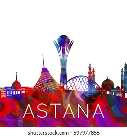 Astana city silhouette, capital of Kazakhstan, creative colorful illustration