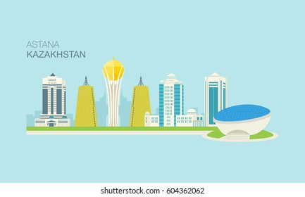 Astana city vector illustration template. Central Asian country, Kazakhstan.