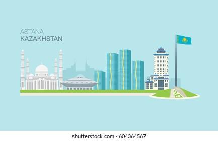 Astana city vector landmark, Kazakhstan.