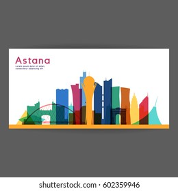 Astana colorful architecture vector illustration, skyline city silhouette, skyscraper, flat design.