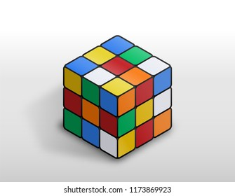 Astana, Kazakhstan, 7 September 2018. Rubik's Cube - combination puzzle invented in 1974 by Erno Rubik. Editorial vector isometric illustration