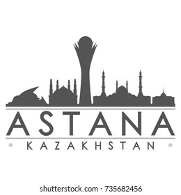 Astana Kazakhstan Skyline Silhouette Design City Vector Art Famous Buildings