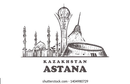 Astana sketch skyline. Nur-Sultan,  Astana hand drawn vector illustration. Isolated on white background.