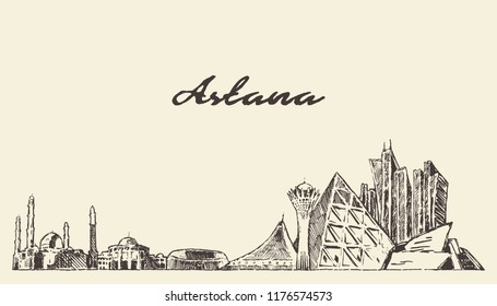 Astana skyline, Kazakhstan, hand drawn vector illustration, sketch