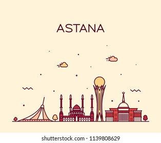 Astana skyline, Kazakhstan. Trendy vector illustration, linear style