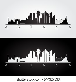 Astana skyline and landmarks silhouette, black and white design, vector illustration.