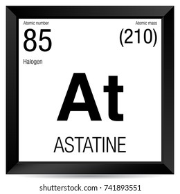 Astatine symbol. Element number 85 of the Periodic Table of the Elements - Chemistry - Black square frame with white background