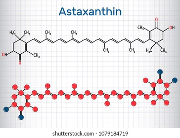 Astaxanthin is a keto-carotenoid. It belongs to class of chemical terpenes. Structural chemical formula and molecule model. Sheet of paper in a cage. Vector illustration