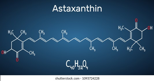 Astaxanthin is a keto-carotenoid. It belongs to class of chemical terpenes Structural chemical formula and molecule model on the dark blue background. Vector illustration