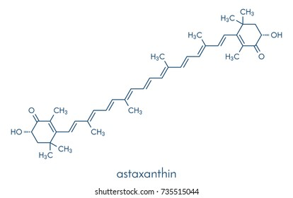 Astaxanthin pigment molecule. Carotenoid responsible for the pink-red color of salmon, lobsters and shrimps. Used as food dye (E161j) and antioxidant food supplement. Skeletal formula.