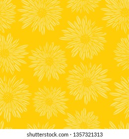Aster Dahlia Flowers yellow seamless vector pattern. Floral subtle background. Hand drawn contemporary feminine art for summer, spring, fabric, paper, home decor, web banner, cards, page fill, covers