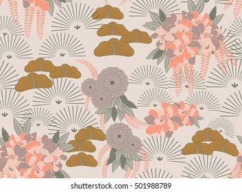 Aster pink flower Japanese garden.Hand drawn floral seamless background.Botanical repainting design for fabric or textile.Seamless pattern with flowers.Vintage retro colors