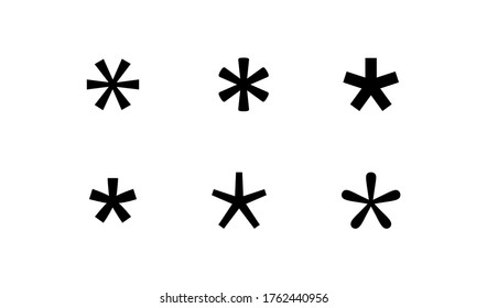 Asterisk, grammar simple black icon. Password star concept in vector flat style.