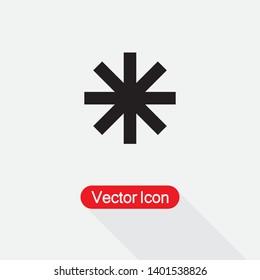 Asterisk Hidden Password Icon, Winter Icon, Medical Symbol Vector Illustration Eps10