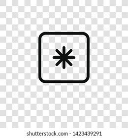asterisk icon from  collection for mobile concept and web apps icon. Transparent outline, thin line asterisk icon for website design and mobile, app development