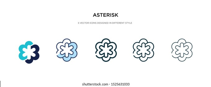 asterisk icon in different style vector illustration. two colored and black asterisk vector icons designed in filled, outline, line and stroke style can be used for web, mobile, ui