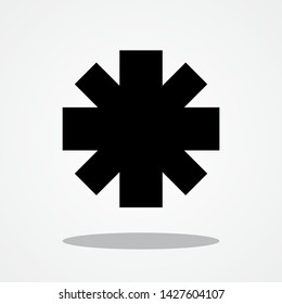 Asterisk Icon with Gray Shadow