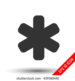 Asterisk icon. Asterisk sign. Flat icon of asterisk isolated on white background. Vector illustration.