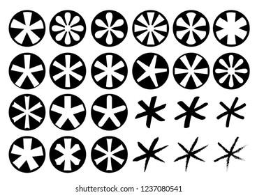 Asterisk icons set. Vector illustration.