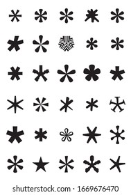 Asterisk icons set. Vector illustration.